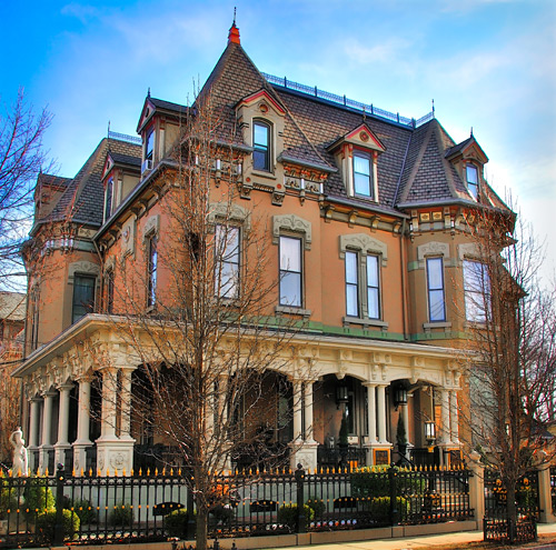The mansion is a fine examples of the French Chateau and Gothic Revival styles of architecture.