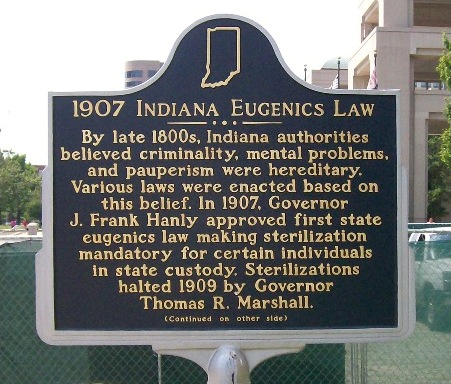 Historical marker describing the 1907 Indiana Eugenics Law