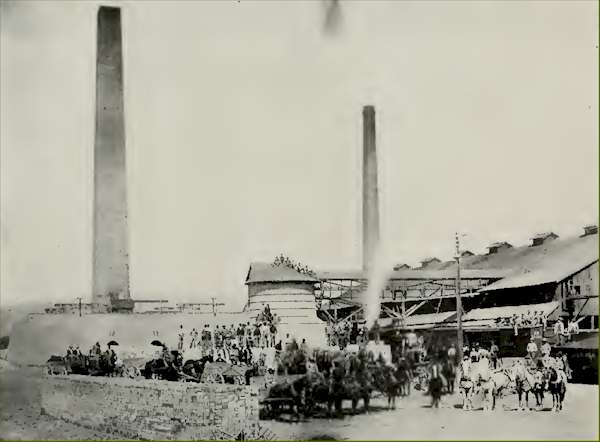 One of the plants at the Salt Lake Pressed Brick Company owned by Cahoon. Photo circa 1890s.