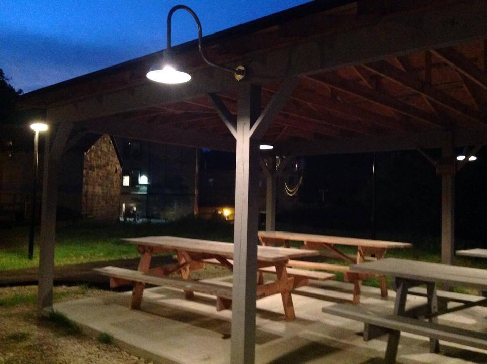 Picnic shelter at night