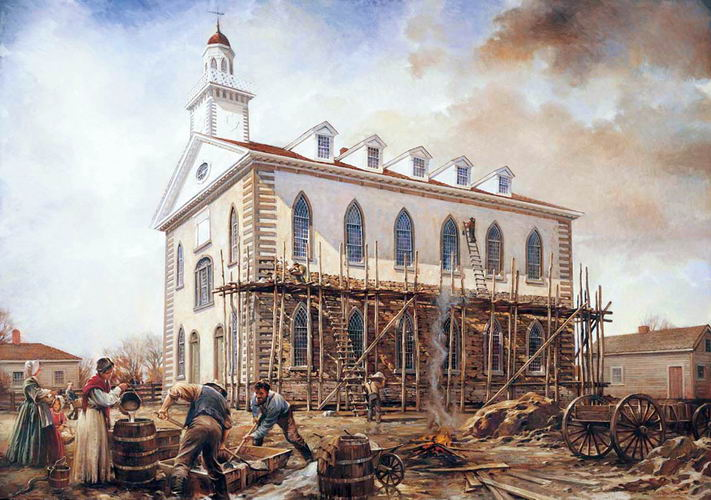Painting depicting the construction of the temple.