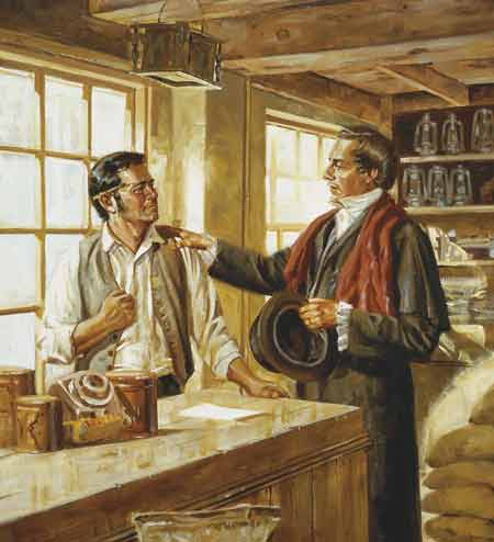 Scene depicting Joseph Smith introducing himself to Newel K. Whitney