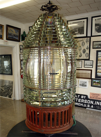 Fresnel lens used in Fairport Harbor Lighthouse located inside Fairport Harbor Marine Museum and Lighthouse.