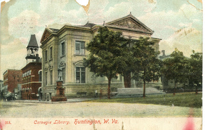 Postcard of the library from 1909