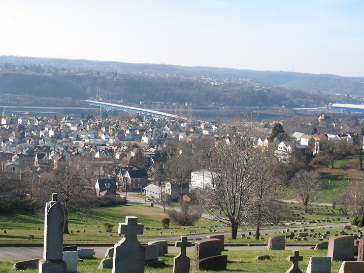 Monongahela Cemetery, Braddock, looking across Braddock to the Monongahela River