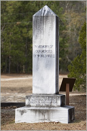 This World War II Memorial was erected by the counties of Allendale, Bamberg, Colleton and Hampton at the Memorial Grounds of Rivers Bridge State Historic Site.