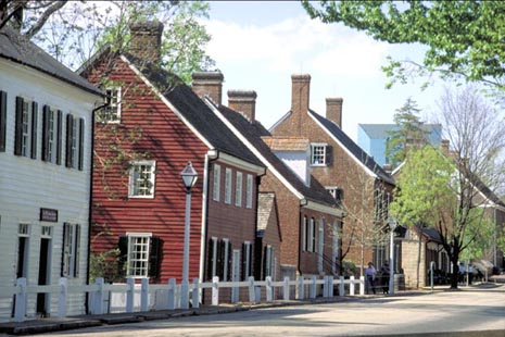Row of historic homes in Old Salem