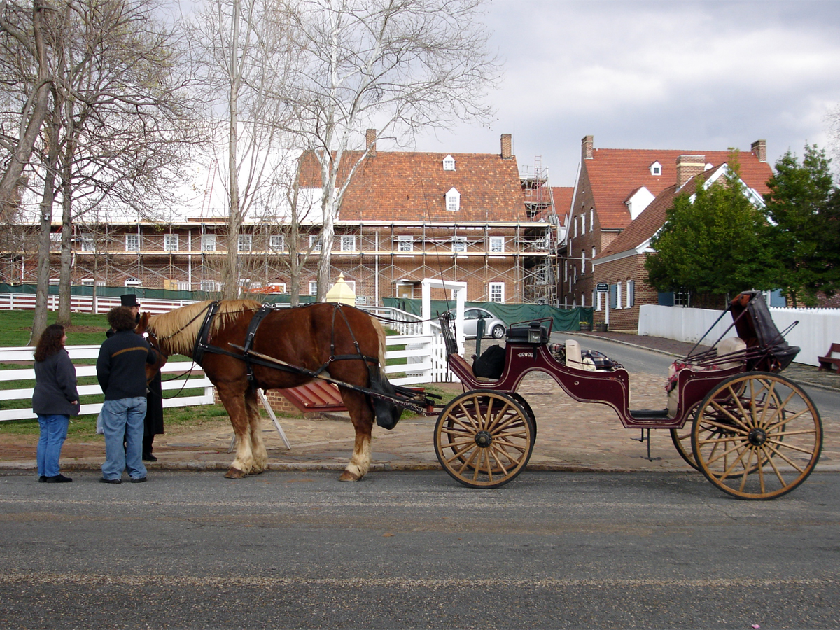 Horse and buggy outside on Old Salem grounds