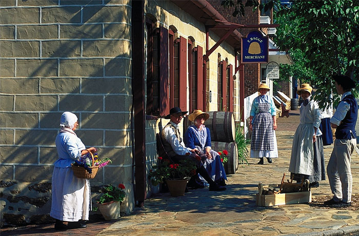 Historic interpreters in the streets of Old Salem