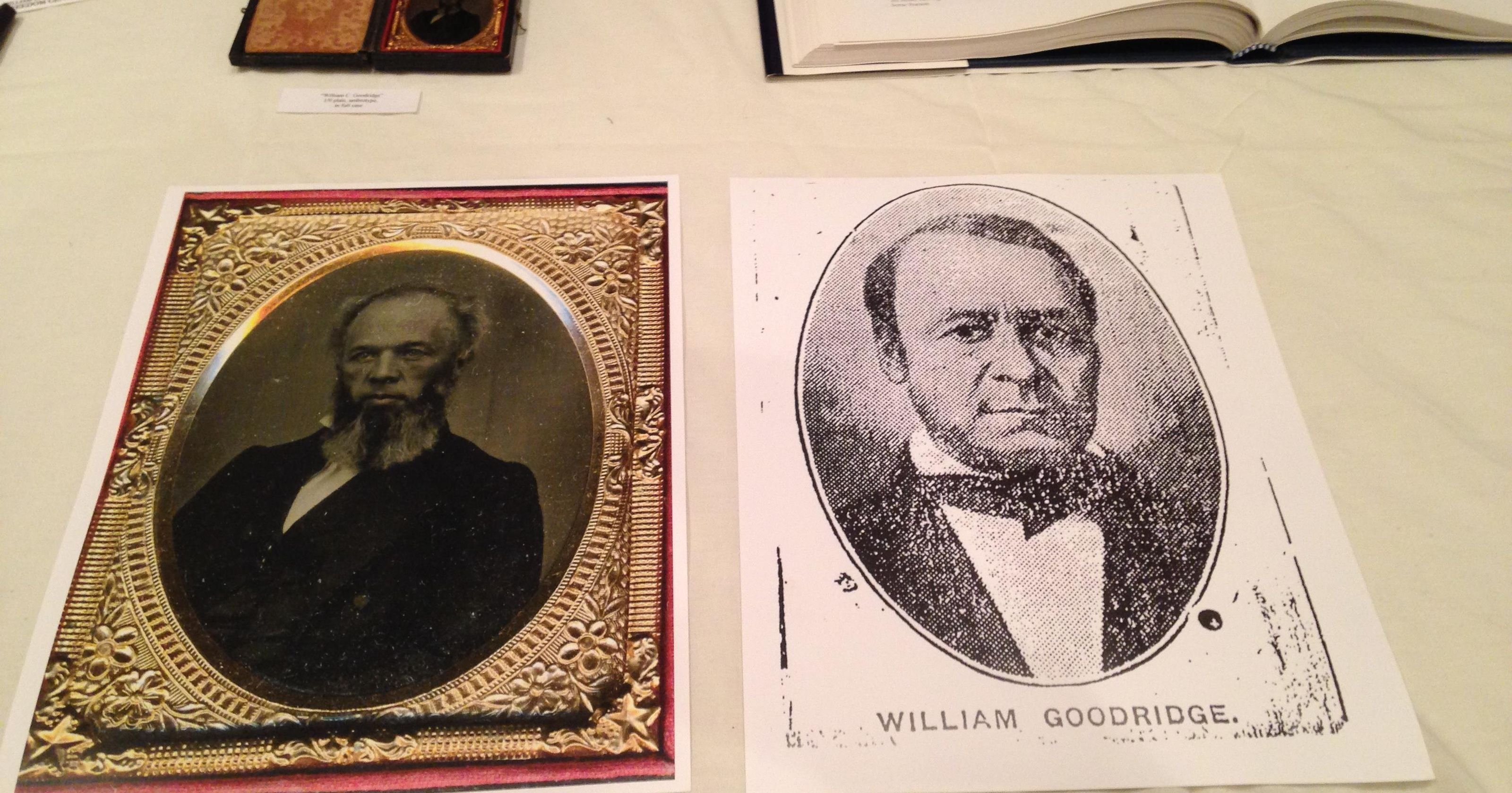 Two images of William C. Goodridge on display within the museum.