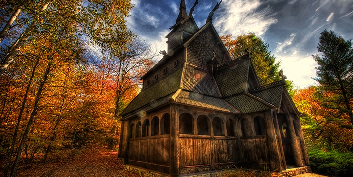 Scandinavian all wooden church