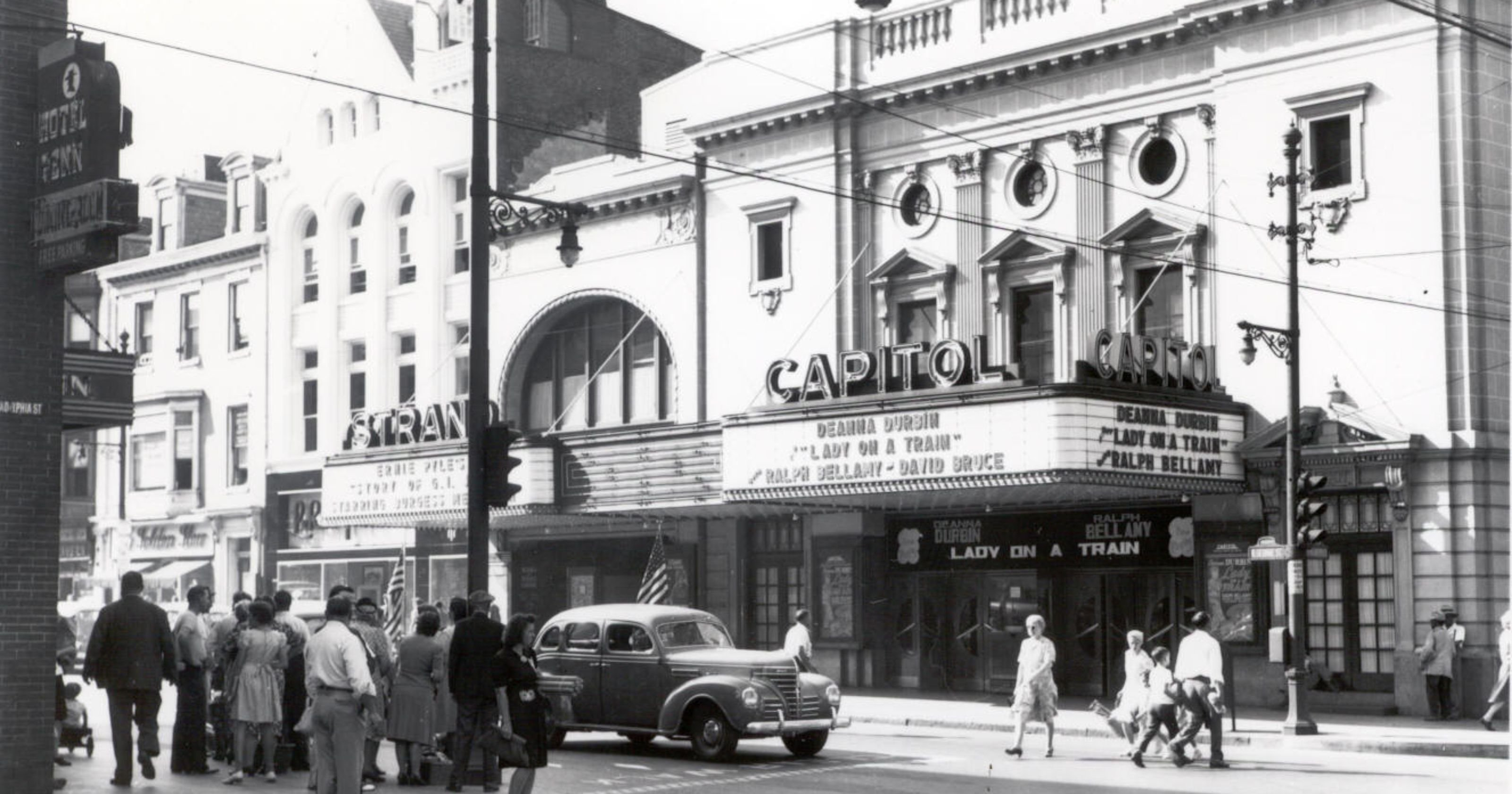 "A 1945 photo of the Strand-Capitol which was showing ""Lady on a Train"" which starred Deanna Durbin and Ralph Bellamy."