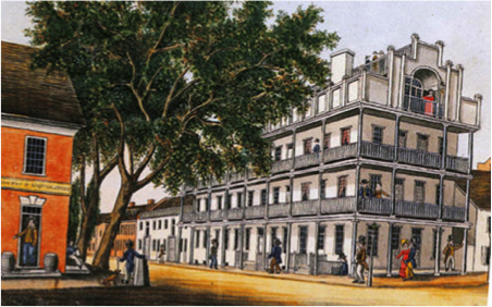 The National House in 1830, as depicted by William Wagner. The building was originally called the White Hall Hotel.