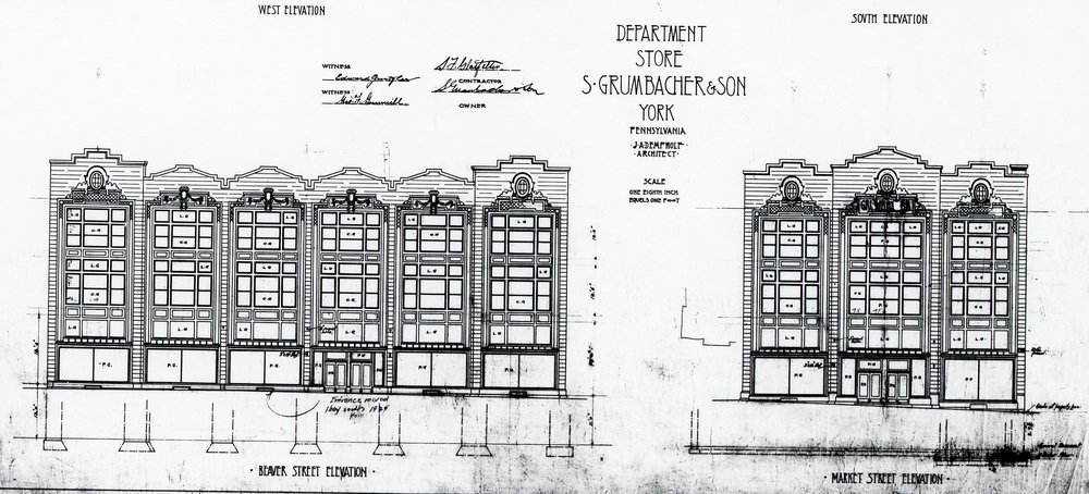 The architectural drawings of the department store from J. A. Dempwolf.