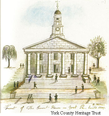 A hand drawn picture of the second courthouse.