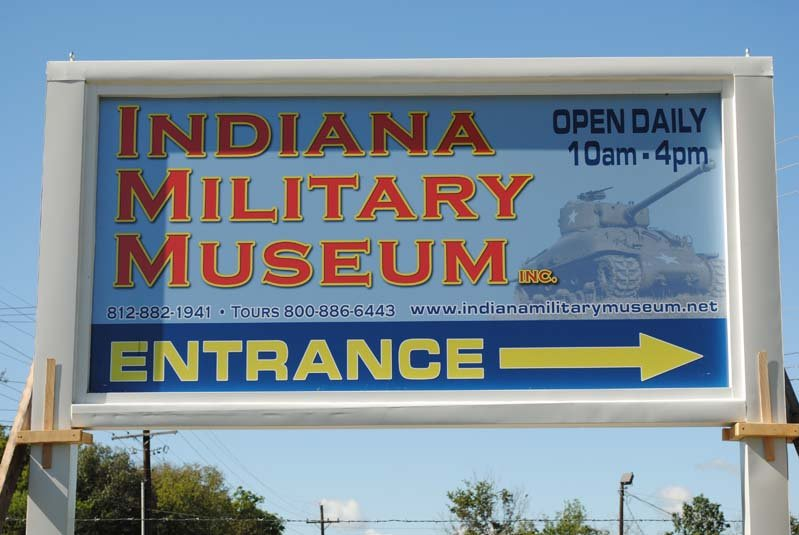 The Indiana Military Museum entrance sign.