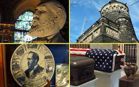 Collage of photos: Doyle's statue (UL), bas-relief image (LL), memorial (UR), POTUS, FLOTUS caskets and Lucretia and husband's urns.