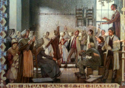 Painting depicting Shakers at a revival service. Courtesy of the Shaker Historical Society.