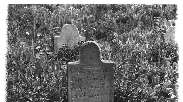 1907 photo of headstone of infant son of the Smiths that died during childbirth while they lived in Harmony