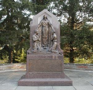 Sculpture depicting restoration of Aaronic Priesthood