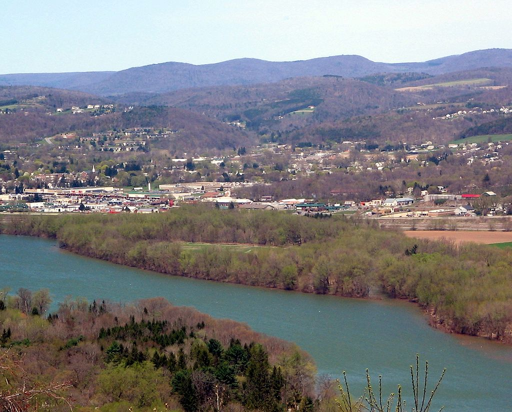 View of Canfield Island from the across (south side) the west branch Susquehanna River
