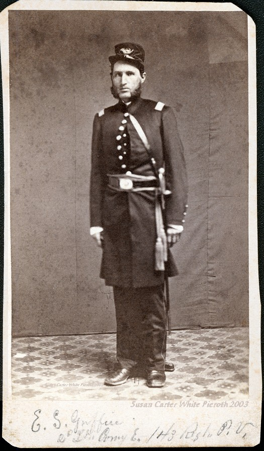 2nd Lieutenant Ezra Griffin, whom the post located in the building is named after. This photo is believed to have been taken around 1863.