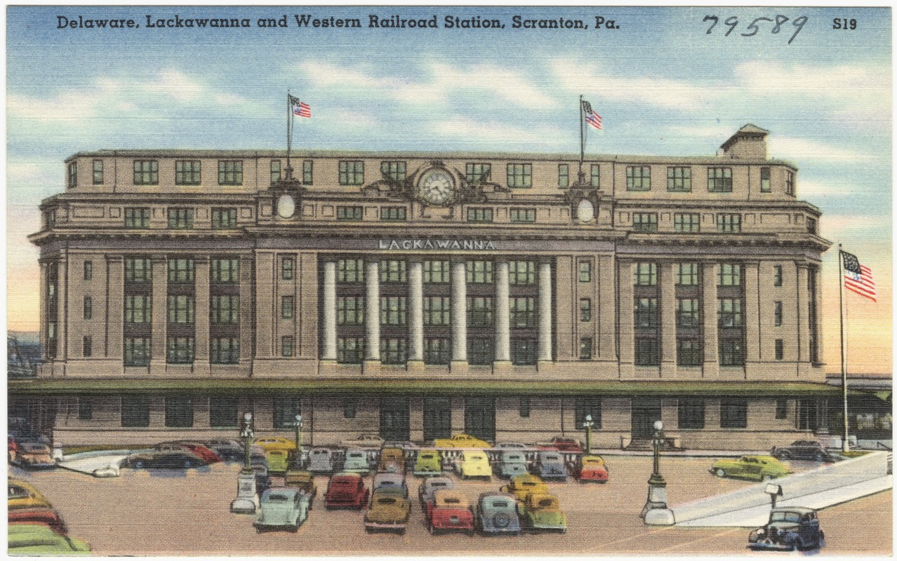 The Delaware, Lackawanna and Western Railroad station in a 1930-1945 colored postcard. Courtesy of the Boston Public Library, Tichnor Brothers Postcard Collection