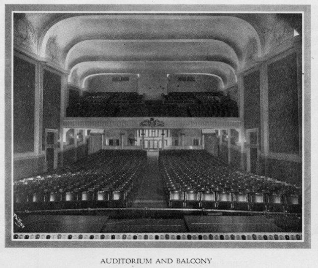 Auditorium and balcony, circa 1917