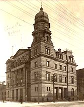 Original Erie Courthouse built in 1887 as it looked in 1901. Demolished in 1936 to make way for construction of today's courthouse