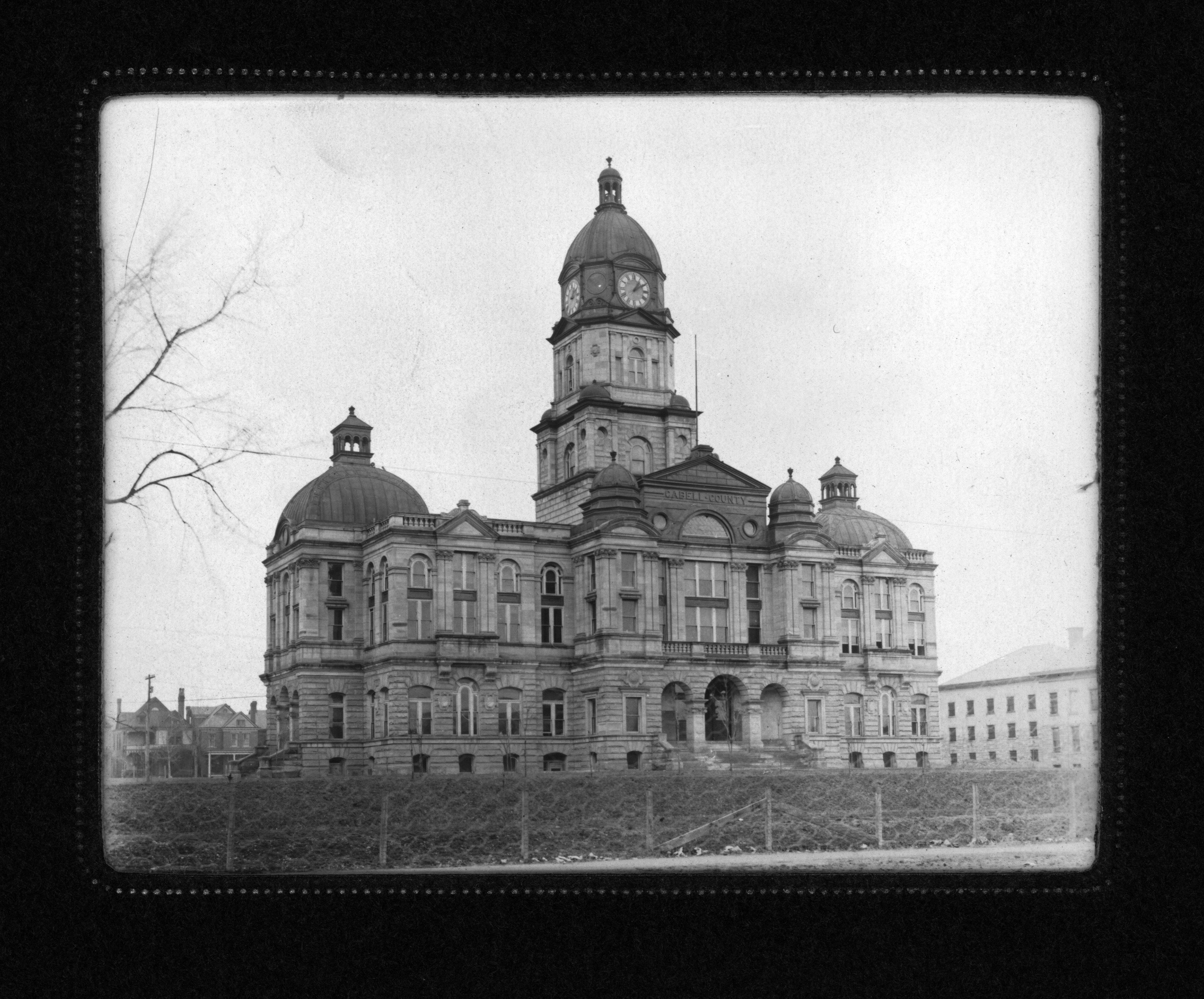The courthouse sometime shortly after its completion. It was constructed over a two year period from 1899-1901 and cost nearly $100,000 to build. Image courtesy of Marshall University Special Collections.
