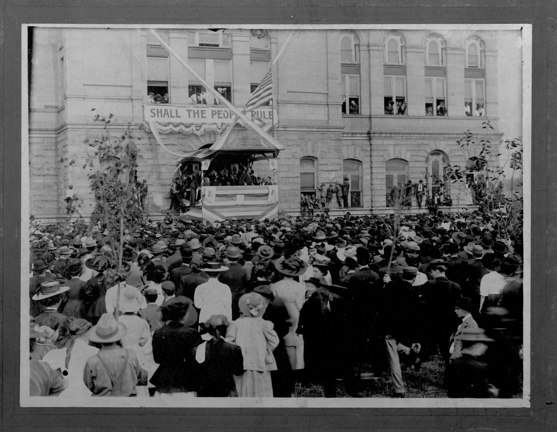 Presidential candidate and popular orator William Jennings Bryan delivering a speech, likely during the 1908 election. The courthouse has been a popular rallying spot for presidential candidates and other politicians visiting Huntington. Image courtesy of