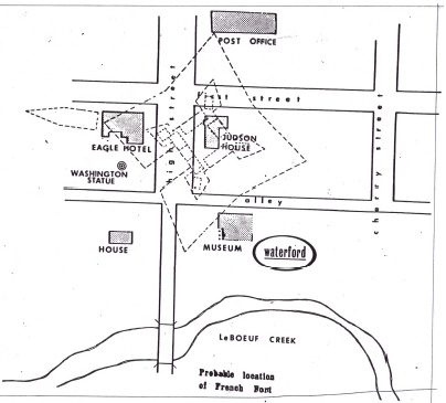 Sketch of modern day historic Waterford and approximate location of fort