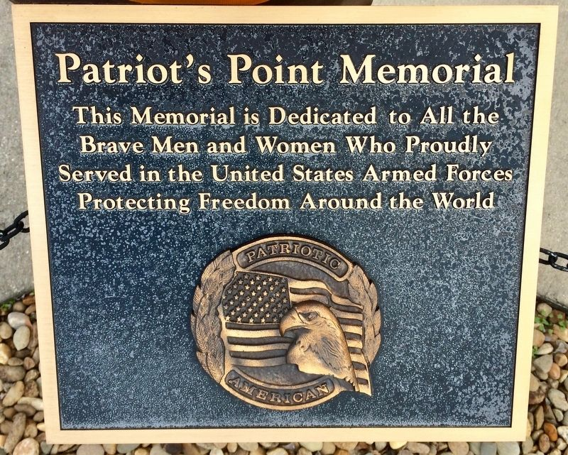 Patriot's Point Memorial marker.  The commemorating plaque located in front of the memorial