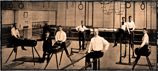 Working out in the gymnasium of Turner Hall, c.1900. Photo credit: Milwaukee Turners