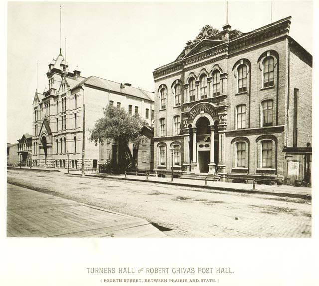 Turner Hall, 1885. Photo credit: UWM Libraries Digital Milwaukee Neighborhoods Collection