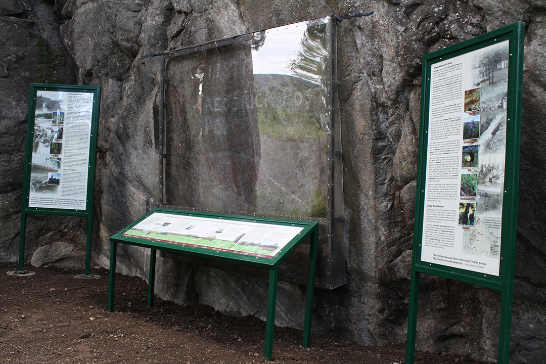 Treaty Rock, complete with interpretive signs.