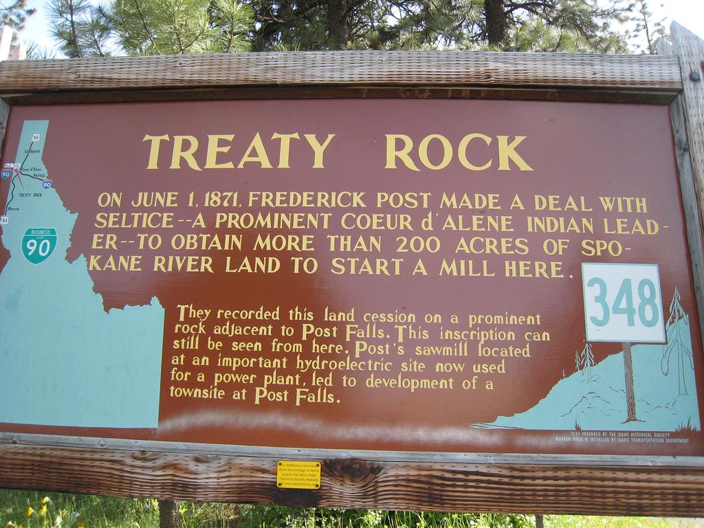 Treaty Rock marker.