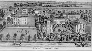Rendering of Edinboro University in 1882. Academy Hall is on the front right of the drawing.