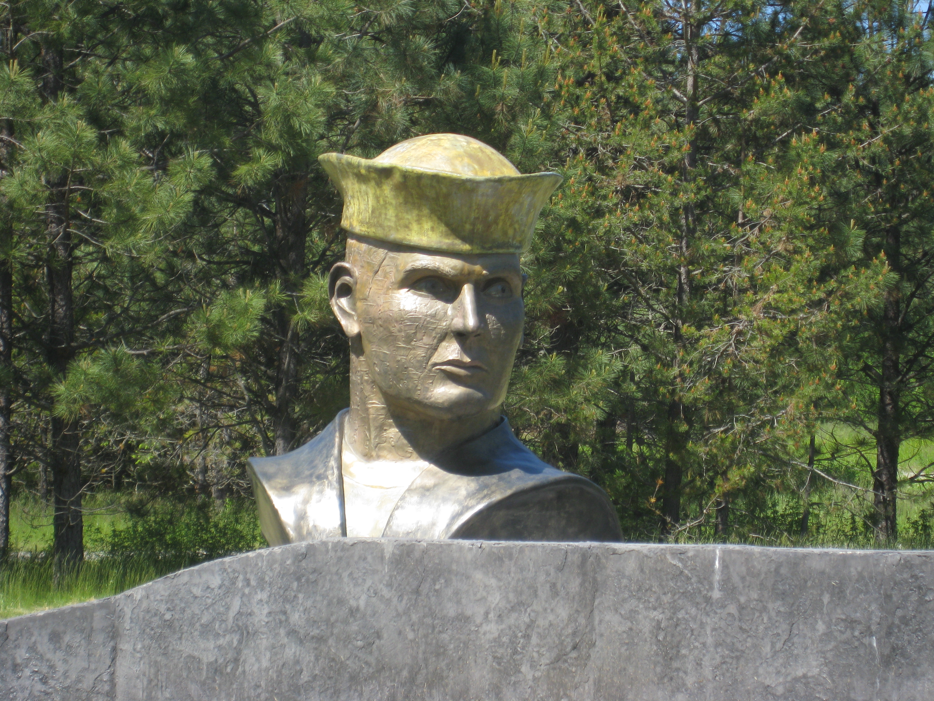 """Bust located at Memorial Plaza entitled """"Rite of Passage."""""""