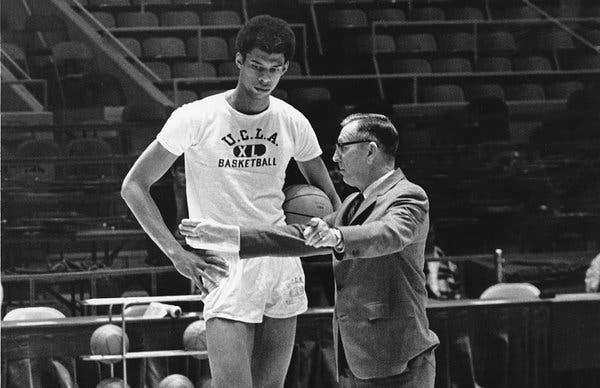 John Wooden coaching Kareem Abdul-Jabbar