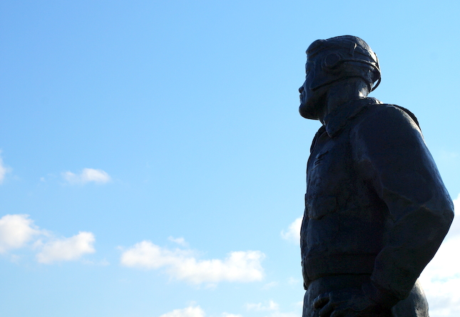 The Pappy Boyington statue, still looking toward the sky.