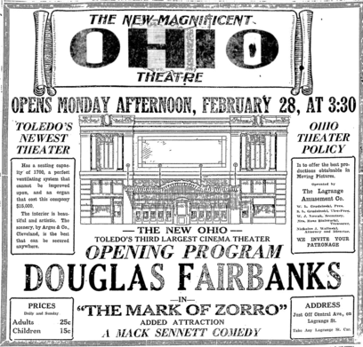 1921 program from the Ohio Theatre's Grand Opening advertising the first film to be played there, The Mask of Zorro