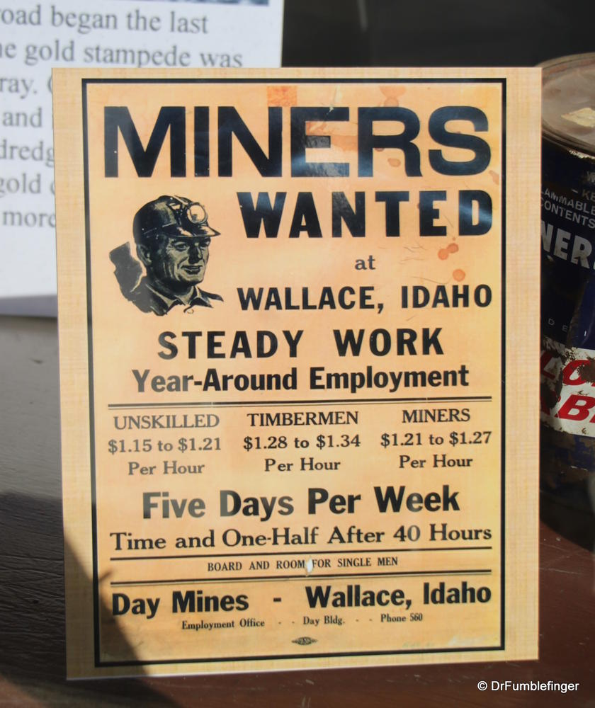 Recruiting poster displaying hourly pay for various mining jobs.