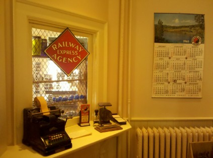 A re-created late 19th century ticket window.