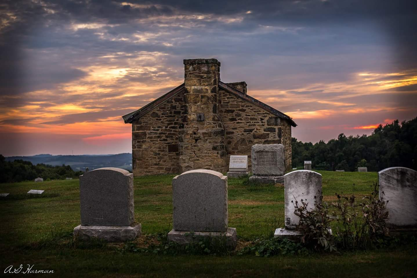 The sun sets on the Providence Chapel.