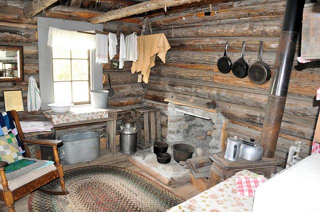 Interior of the Settler's Cabin.