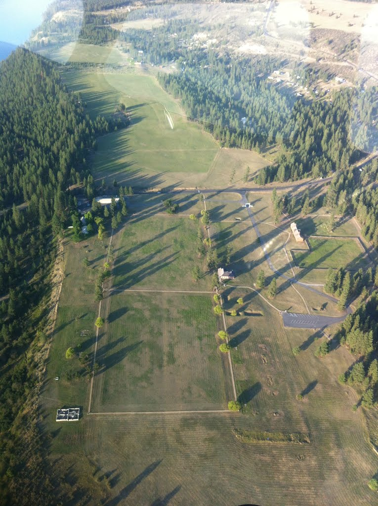 Panoramic overhead photo of Fort Spokane
