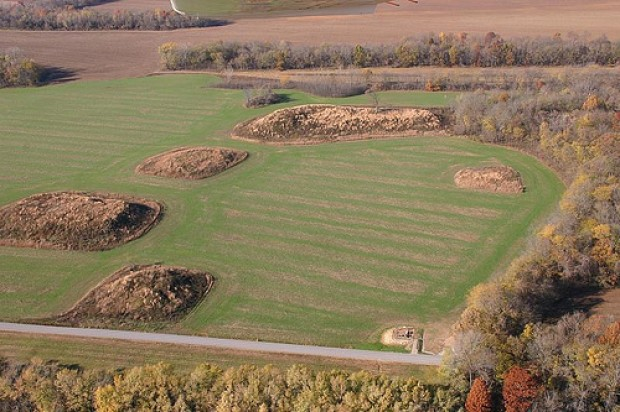 Aerial view of Kincaid Mounds State Historic Site