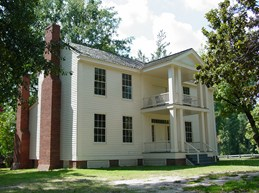This home was built in the early 1850s in Columbus, Arkansas ,about eight miles northwest of Washington. In the 1980s, the Pioneer Washington Restoration Foundation moved the building here to preserve it.