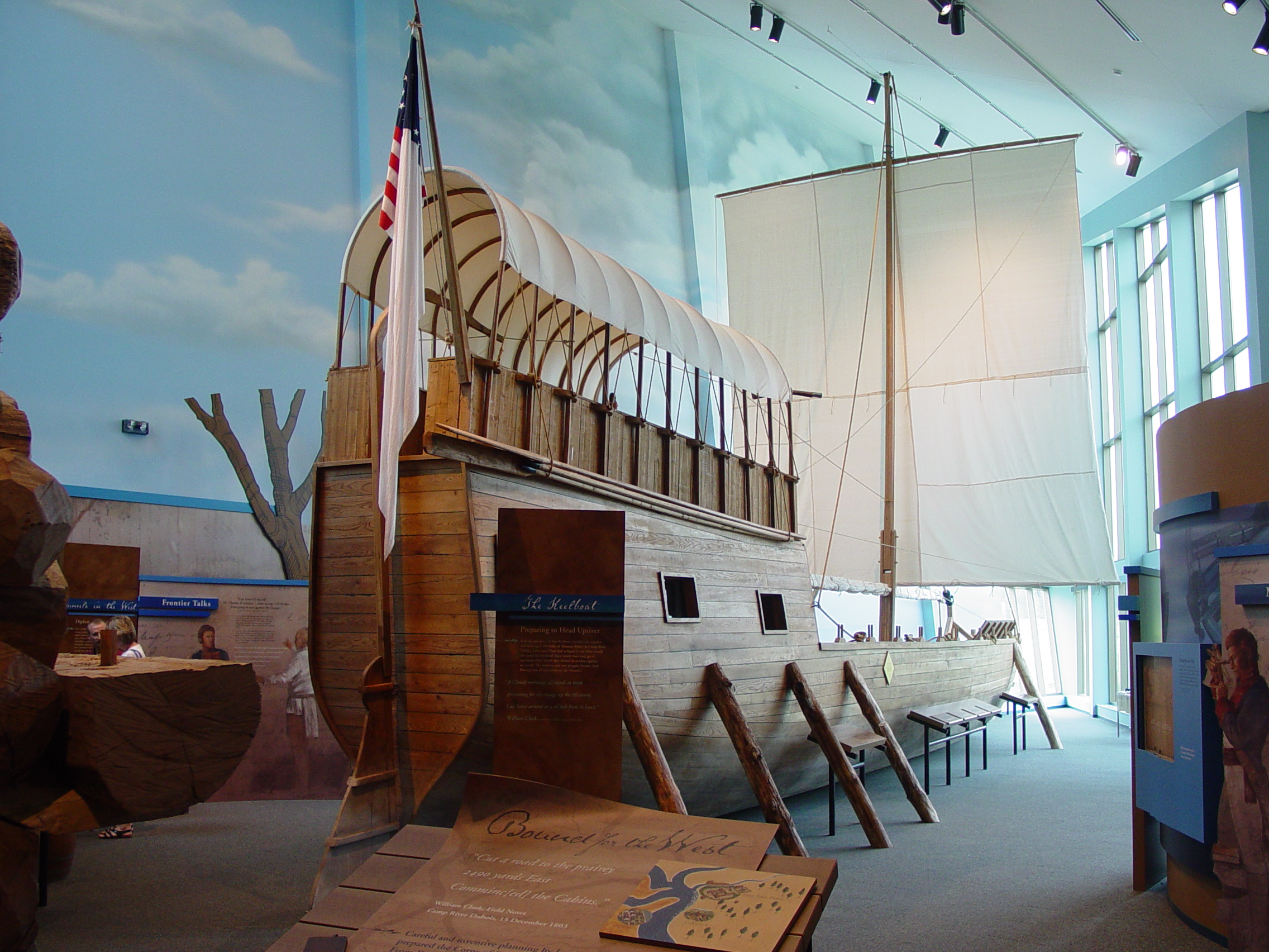 Keelboat exhibit within the visitor's center